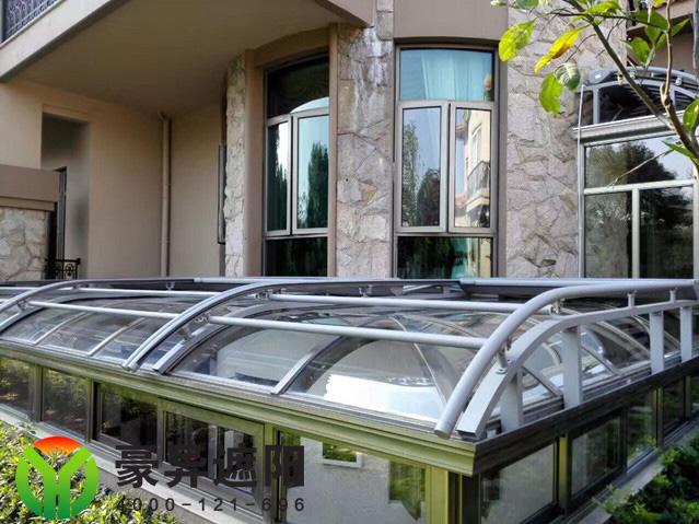 锦乡庄园阳光房玻璃顶电动遮阳棚,豪异遮阳,4000-121-696